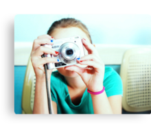 Retro Coloured Tographer Girl :D Canvas Print
