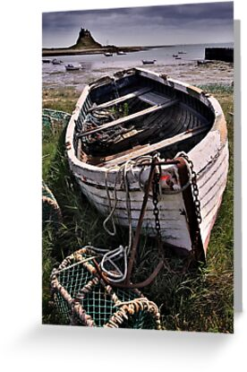 Old boat and lobster pots - Lindisfarne by Dave Lawrance