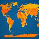 World Map in Orange and Blue by ArtPrints