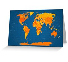 World Map in Orange and Blue Greeting Card