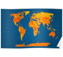 World Map in Orange and Blue Poster