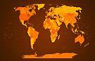 World Map Autumn Colours by Michael Tompsett