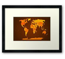 World Map Autumn Colours Framed Print