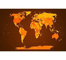 World Map Autumn Colours Photographic Print