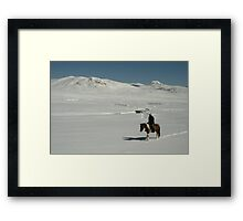 Rider on snow covered mountain plain, Tien-Shan, Kyrgyzstan Framed Print