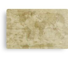 World Map Antique Style Metal Print