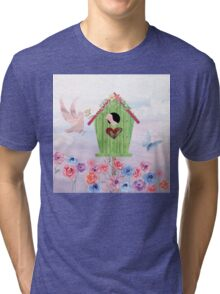 Building Their Nest cute birdies nature painterly art Tri-blend T-Shirt