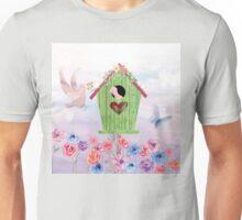 Building Their Nest cute birdies nature painterly art Unisex T-Shirt