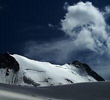 Snow covered edge of Adygine glacier, Kyrgyz Range, Tien-Shan, Kyrgygzstan by Michal Cerny