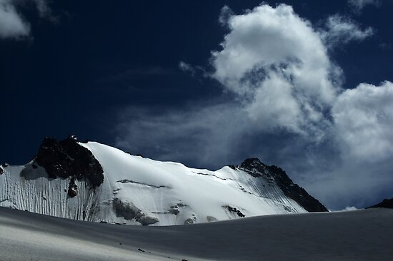Snow covered edge of Adygine glacier, Kyrgyz Range, Tien-Shan, Kyrgygzstan by Michal Cerny