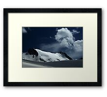 Snow covered edge of Adygine glacier, Kyrgyz Range, Tien-Shan, Kyrgygzstan Framed Print