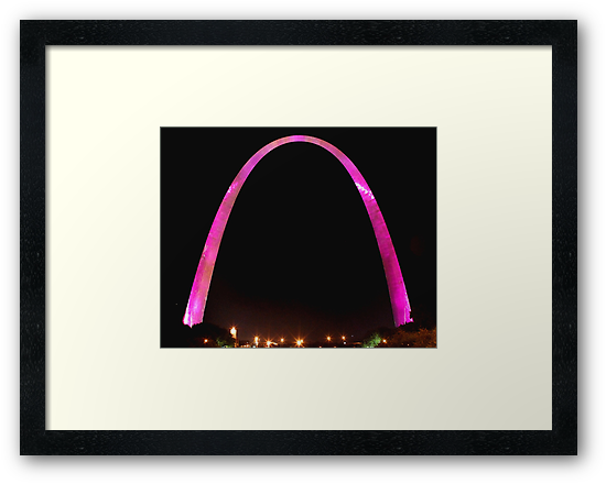 St Louis Arch, Pink for breast cancer awareness! by Leon Heyns