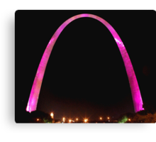 St Louis Arch, Pink for breast cancer awareness! Canvas Print