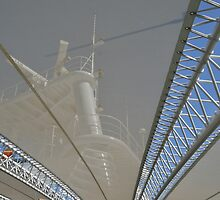 masts and radar tower seen through canopy by Stephen Frost