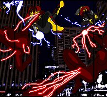 Lightning Man VS. Dark Lightning - Two Page Spread Print by David Amorando