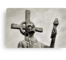 Statue of St Cuthbert - Lindisfarne Priory Canvas Print