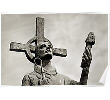 Statue of St Cuthbert - Lindisfarne Priory Poster