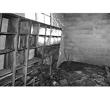 inside a old garage(black and white) Photographic Print