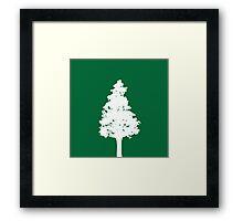 White Tree Silhouette Framed Print