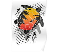 Red sun floating turtle  Poster