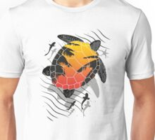 Red sun floating turtle  Unisex T-Shirt