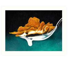Cereal and Milk in Spoon Art Print