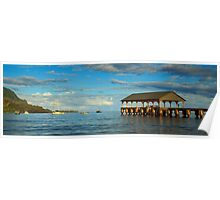 Morning Light On The Hanalei Pier Poster