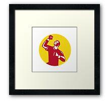 Athlete Fist Pump Circle Retro Framed Print