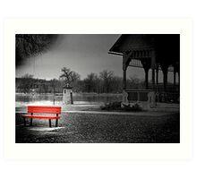 Lonely Bench in a Dark World Art Print