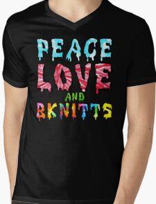 Peace Love and BKnitts Mens V-Neck T-Shirt