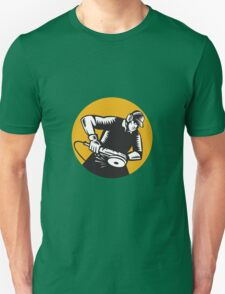 Worker Angle Grinder Oval Woodcut T-Shirt