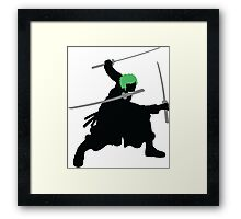 Zoro with Swords Silhouette (Green Hair Pirate) Framed Print