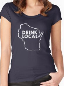 Wisconsin Drink Local Beer White Women's Fitted Scoop T-Shirt