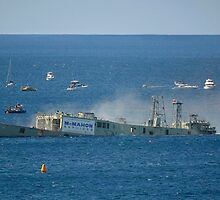 HMAS Adelaide being sunk off Avoca by Tony Bowler