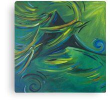 Flight of the green birds Canvas Print