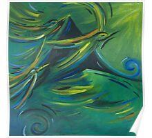 Flight of the green birds Poster