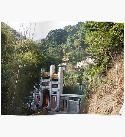 Temple in exotic jungle Poster