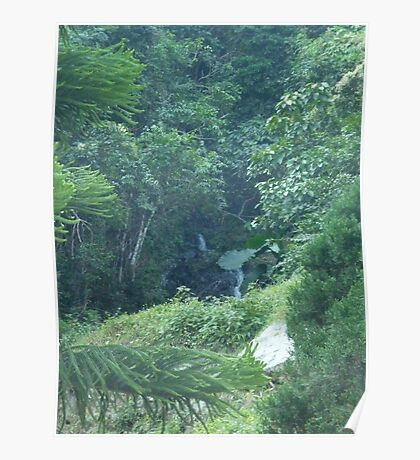 waterfalls in jungle in mountains in asia Poster