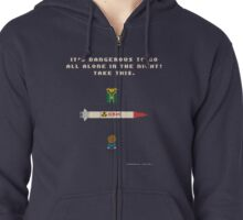 It's Dangerous to Go All Alone in the Night! Zipped Hoodie
