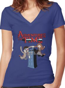 Adventures In Time Women's Fitted V-Neck T-Shirt