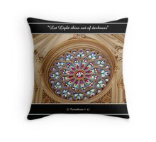 Stained Glass Window at St. Joseph's Cathedral Throw Pillow