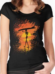 Skeleton with surfboard Women's Fitted Scoop T-Shirt