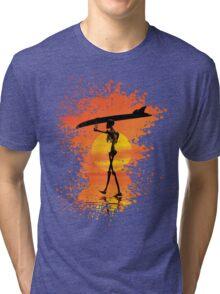 Skeleton with surfboard Tri-blend T-Shirt