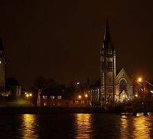 Inverness, Scotland at night by Michael Neal