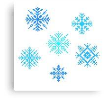 Snowflakes - pixel art Canvas Print