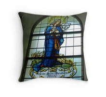 Mother Mary - Stained Glass Church Window Throw Pillow
