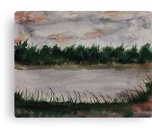 Walking around the Lake.  watercolor Canvas Print