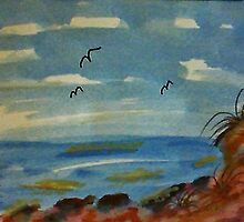 Lets sit on the rocks and enjoy the ocean, watercolor by Anna  Lewis, blind artist