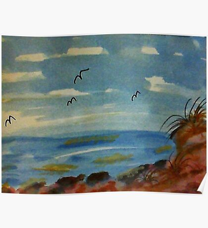 Lets sit on the rocks and enjoy the ocean, watercolor Poster
