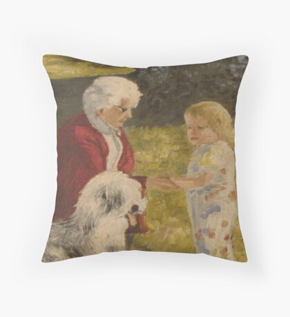 Nellie, Erika and Topper .. oil on canvas '76 Throw Pillow